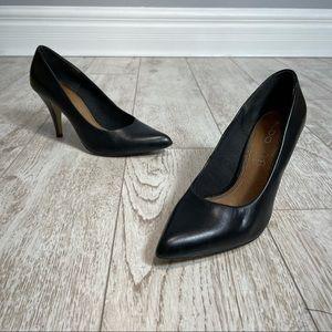 Aldo 39 black leather pointy toe heels pumps